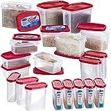 Primeway Modular Kitchen Food Storage Plastic Containers, 275ml, 500ml 750ml, 1 Litre, Set of 20 Pcs, Red