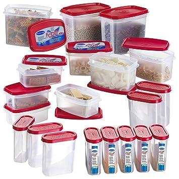 Great Primeway Modular Kitchen Food Storage Plastic Containers, 275ml, 500ml  750ml, 1 Litre,