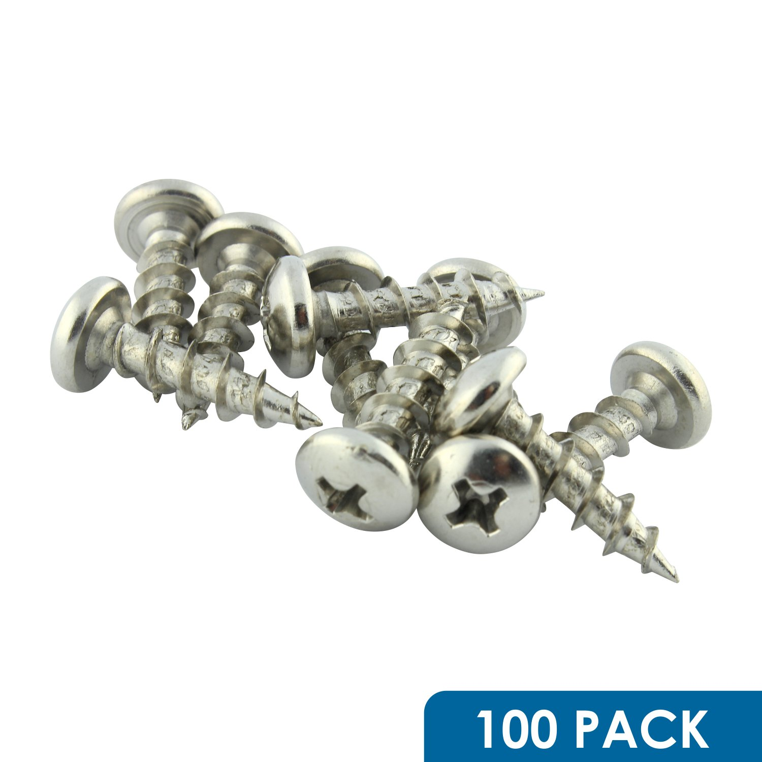 "#10 x 3/4"" Coarse Deep Thread Phillips Pan Head Screws Nickel Plated, 100 Pack ROKS10X34PPCNP"