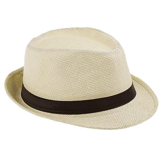 e50845ea7e5 Amazon.com  Elee Unisex Kids Straw Trilby Fedora Cap Jazz Hat Short Brim  Sunat ( 5 Ivory)  Clothing