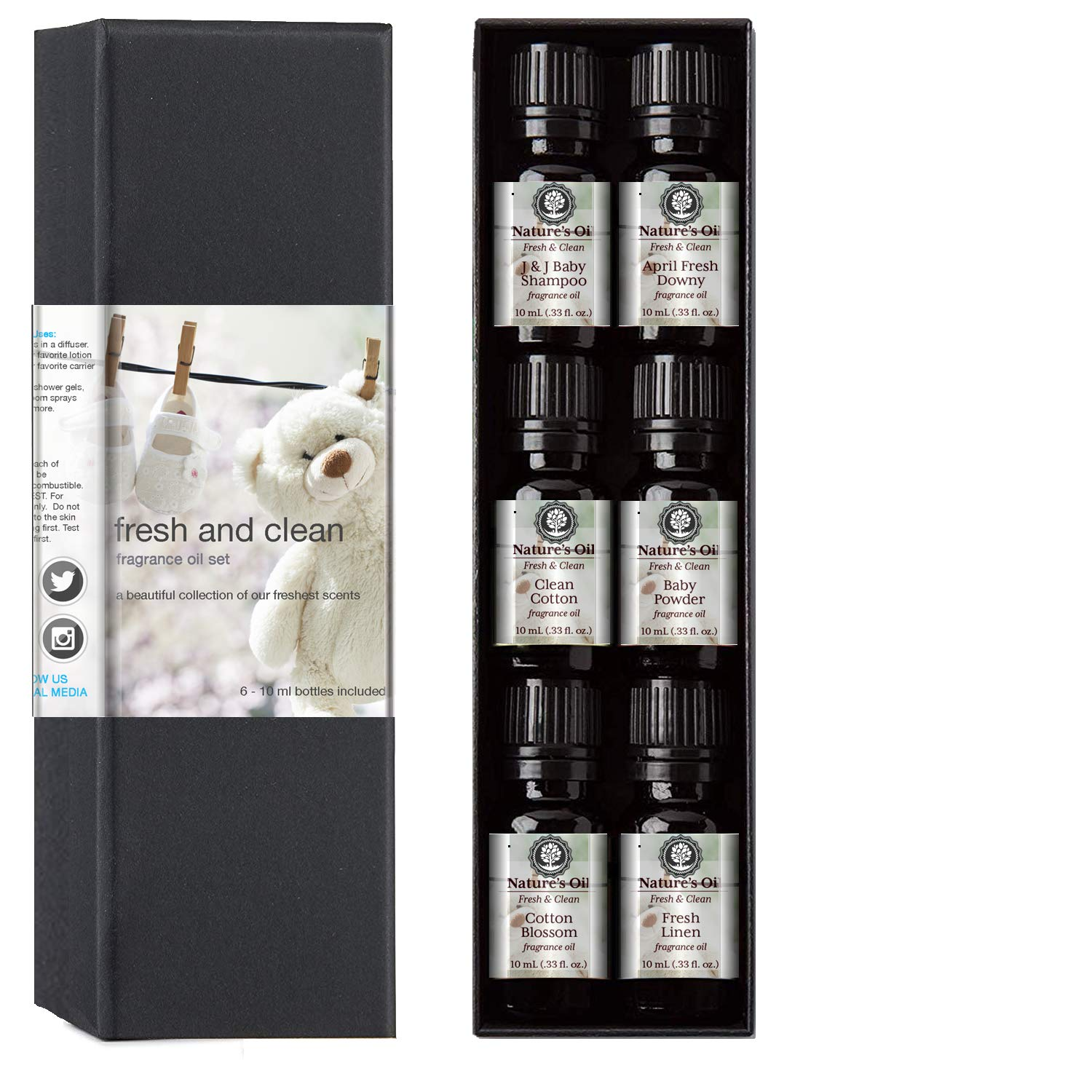 Fragrance Oil Fresh & Clean Gift Set, 10 ml Cotton Blossom, Fresh Linen, Baby Powder, Clean Cotton, April Fresh Shampoo