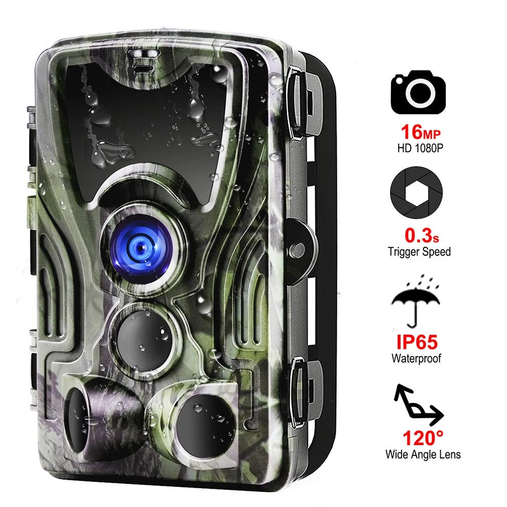HCATNcame 4G Wildlife Trail Camera,16MP 1080P Night Vision Motion Activated Wild Game Cam 120° Detection Range Wildlife Camera Photo Hunting Camera, 0.3s Trigger Speed