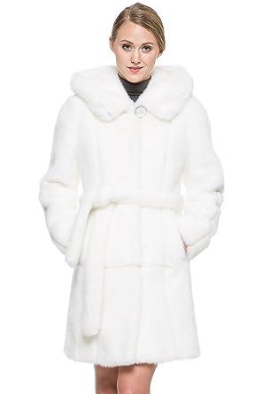 Adelaqueen Women's Snow White Full length Mink Faux Fur Coat with ...