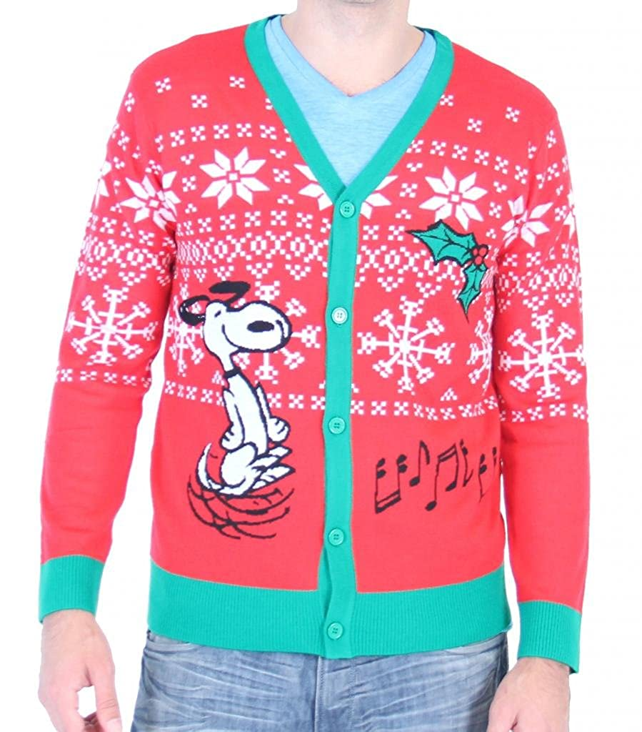 Peanuts Snoopy Making Spirits Bright Adult Ugly Christmas Sweater Cardigan