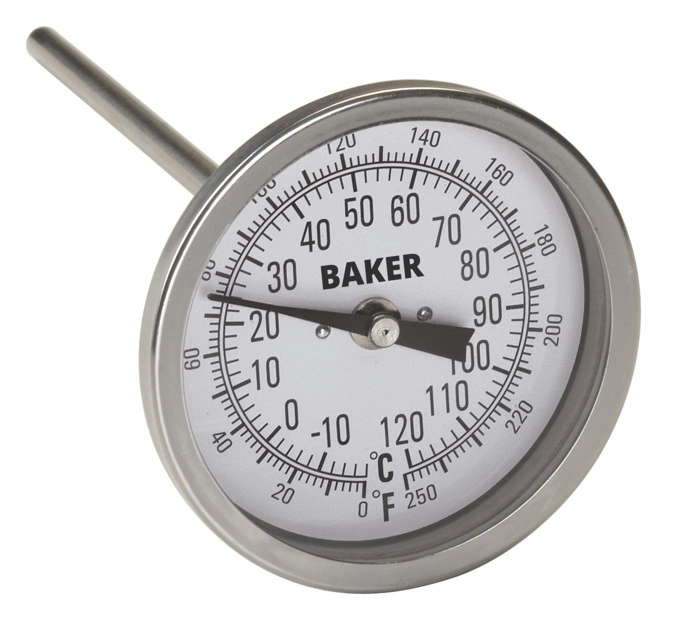 Baker Instruments T300 Series Stainless Steel Bi Metal Thermometer 0 to 250°F (-20 to 120°C), 6'' Stem, 1/2'' NPT Straight Connection, 3'' Dial