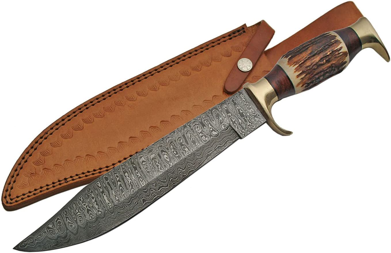SZCO Supplies Damascus Steel Stag Bowie Knife Damascus Steel Knife