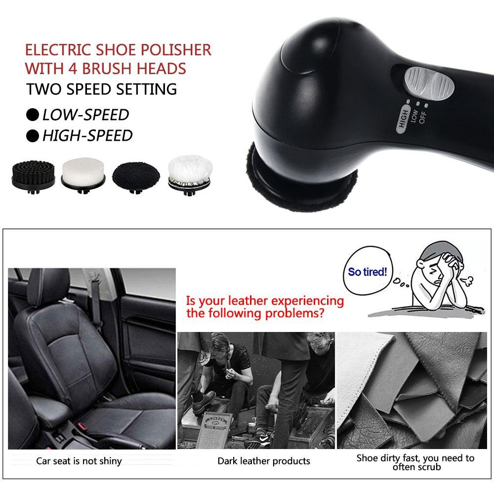 Electric Shoe Polish Kit Electric Shoe Polisher for Men Women,Shoes Scrubber Portable Handheld Shoes Cleaning Brush Kit for Leather Shoes by Aolvo (Image #5)