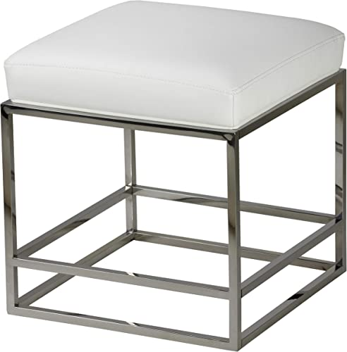 Cortesi Home Sabrina Metal Cube Ottoman with White Faux Leather Cushion, 18 ,