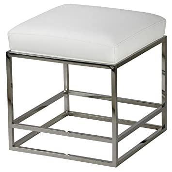 Tremendous Cortesi Home Ch Ot905463 Sabrina Metal Cube Ottoman With White Faux Leather Cushion 18 Squirreltailoven Fun Painted Chair Ideas Images Squirreltailovenorg