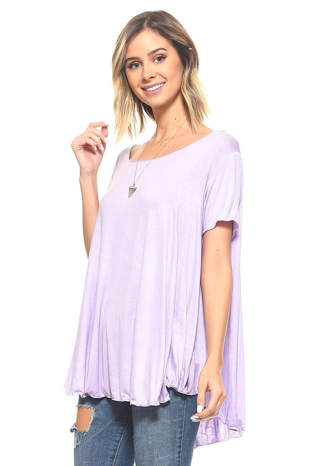 Simplicitie Women's Plus Size Summer Short Sleeve Loose Casual Tee T-Shirt Tunic Top - Lavender, 2X - Made in USA