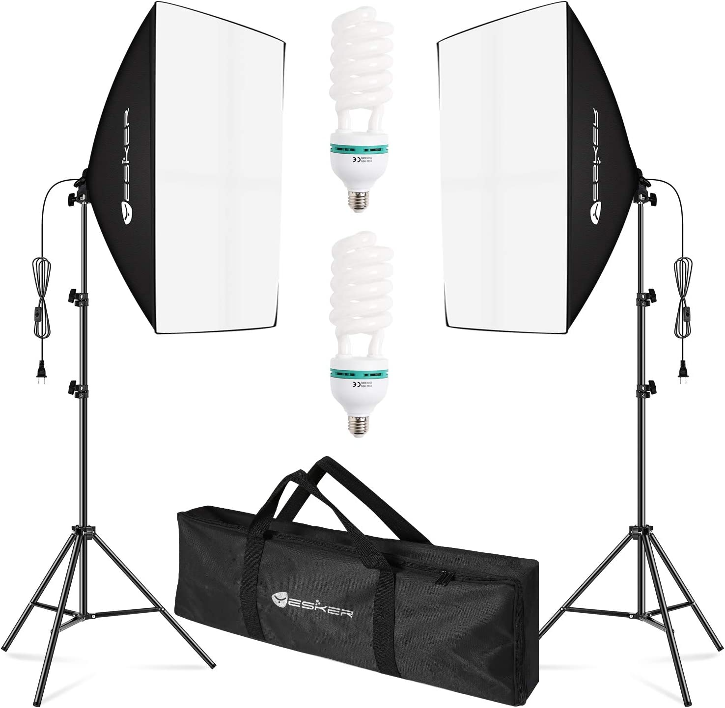 Yesker Softbox Lighting Kit 2pcs 20x28 inch Professional Photo Studio Photography Equipment Continuous Lighting with 2X 85W 5500K E27 Socket Bulb for Filming Portrait Shooting Fashion Photography
