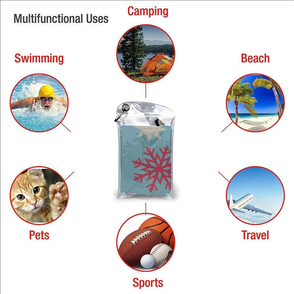 Romantic Holiday Christmas Snowflake Microfiber Beach Towels Travel Dry Towel Travel Towels Beach Mens Beach Towel 27.5 X 51 70 X 130cm Best for Gym Travel Camp Yoga Fitnes
