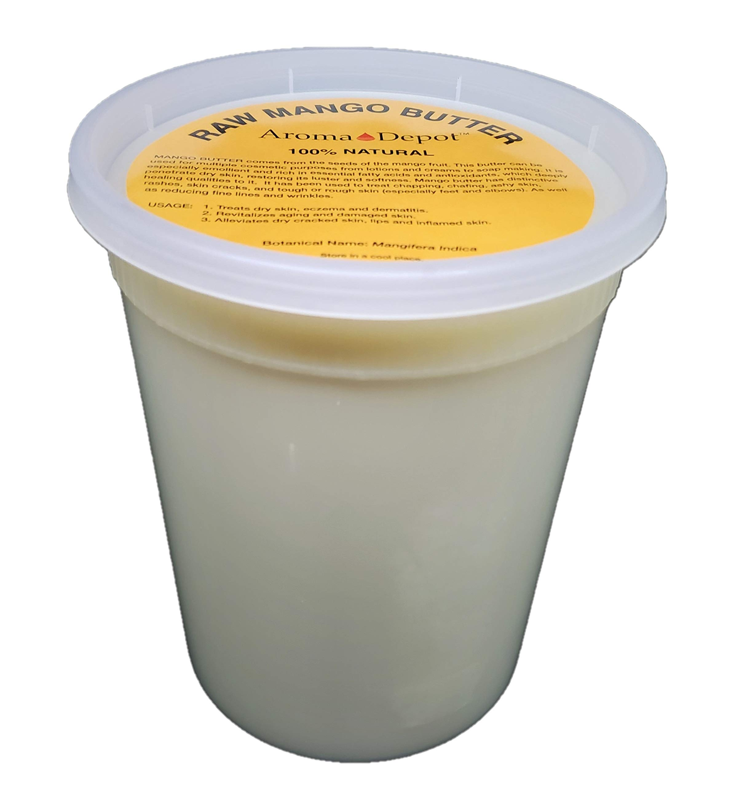 Aroma Depot 2 lb / 32 oz Raw Mango Butter Unrefined 100% Natural Pure Great for Skin, Body, Hair Care. DYI Body Butter, Lotions, Creams Reduces Fine Lines, Wrinkles, used for eczema psoriasis