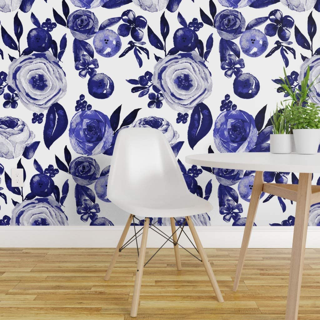 Spoonflower Peel And Stick Removable Wallpaper Navy Watercolor