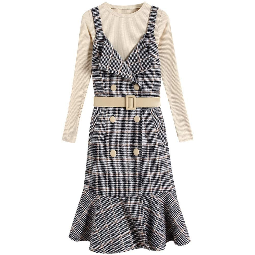 Women's Cocktail Party Dress Spring LongSleeved TwoPiece Dress Knee Length Fashion Women's Round Collar Plaid Printed Pleated Skirt Pencil Dress (Size   L)