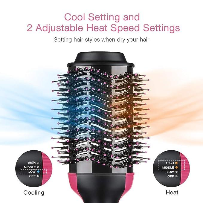 Cepillo Alisador, BUDDYGO One-Step Secador y Volumizador de pelo con 3 posiciones de calor, Revestimiento Cerámico Rotativo Cepillo de Aire Caliente para ...