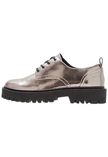 01cc0a900 Even&Odd Chaussures à Lacets pour Femmes - Derby Femme Aspect Cuir -  Chaussures Casual avec Talons compensés - Chaussures Derbies à Lacets