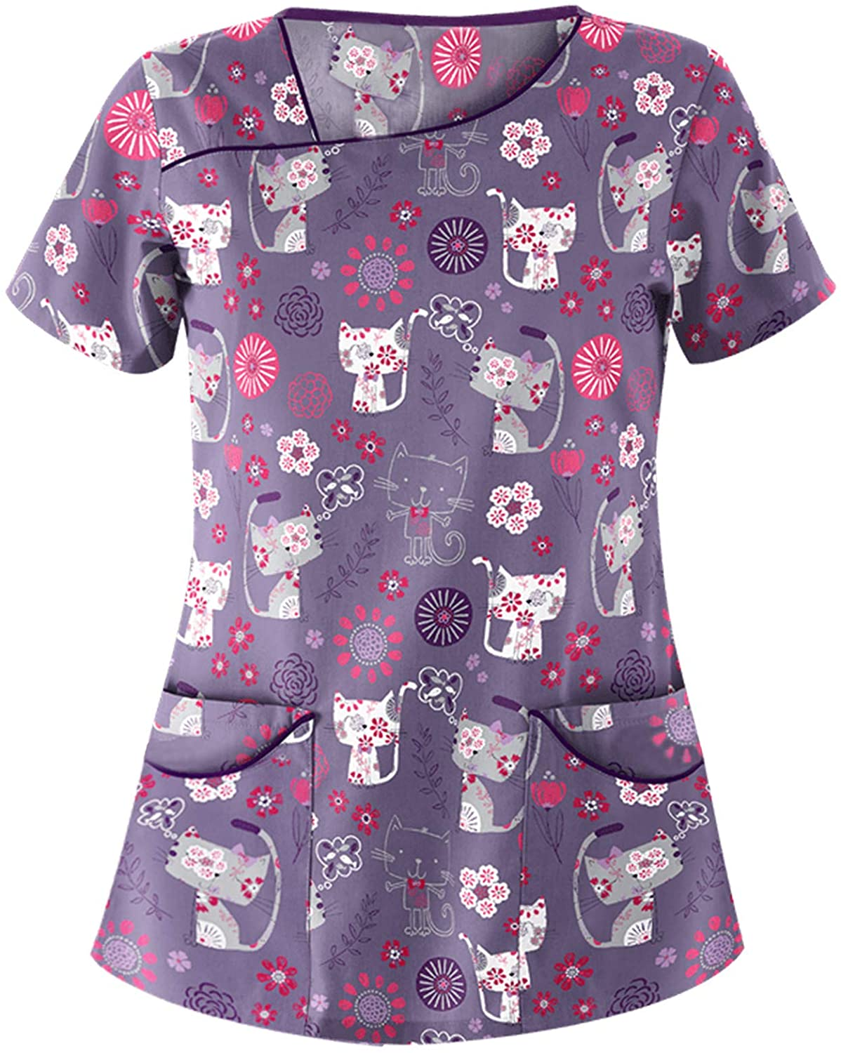 Women Cute Scrub/_Top Butterfly Printed Graphic Tee Shirts Short Sleeve V-Neck Working Uniform Tops