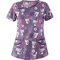 Wallity Medical Scrub_Tops Women Working Uniform T-Shirt Print Short Sleeve V-Neck Tops with Pockets