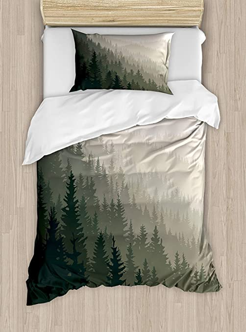 Twin Xl Extra Long Bedding Set Forest Duvet Cover Set Northern Parts Of The World With Coniferous Trees Scandinavian Woodland Include 1 Comforter Cover 1 Bed Sheets 2 Pillow Cases Cream Tan Dark Green Home