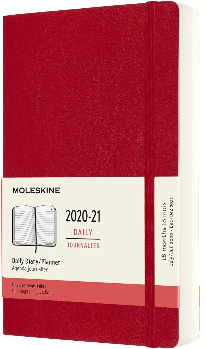 Moleskine - Agenda 2020/2021 un Día por Página, Agenda de 18 Meses, Planificador Diario con Tapa Blanda y Cierre Elástico, Tamaño Grande 13 x 21 cm, Color Rojo Escarlata, 608 Páginas