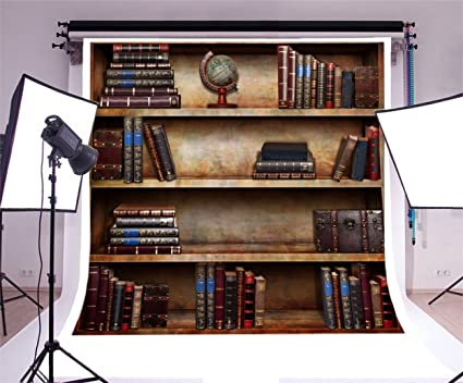 Laeacco 6x6ft Vinyl Backdrop Old Books Bookshelf Photography Background Texture Ancient Style Globe On Bookcase