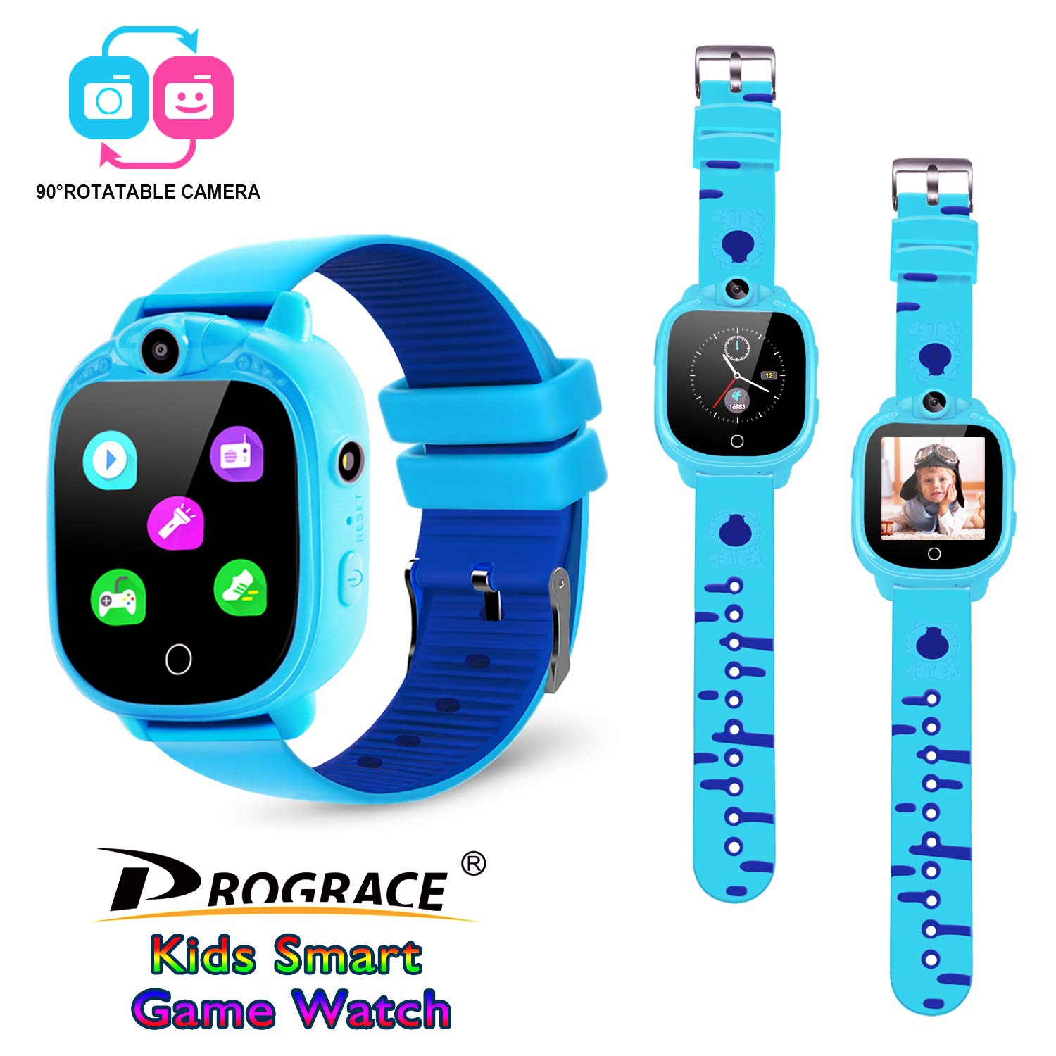 PROGRACE Kids Smartwatch with 90 Rotatable Camera Touchscreen Kids Watch Music Pedometer Flashlight Games FM Radio Kids Smart Watch Sports Watches Digital Wrist Watch for Boys