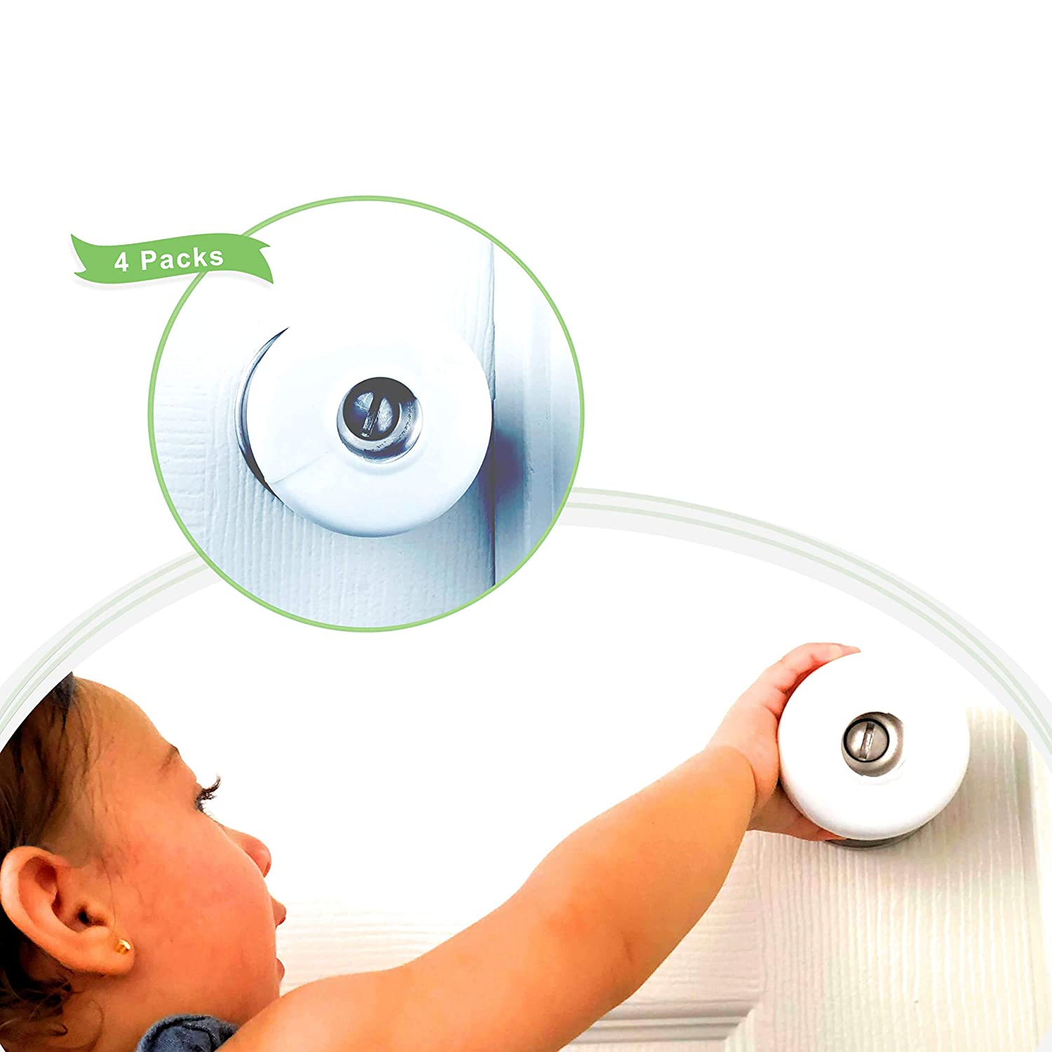 Baby Safety Door Knob Cover Babyproof - 4 Pack Door Handle Security Lock for Lever - Premium Plastic Quality for Childproof Kids Toddler - Protect Your Child from Opening Unsafe Rooms in Home Jouryeh