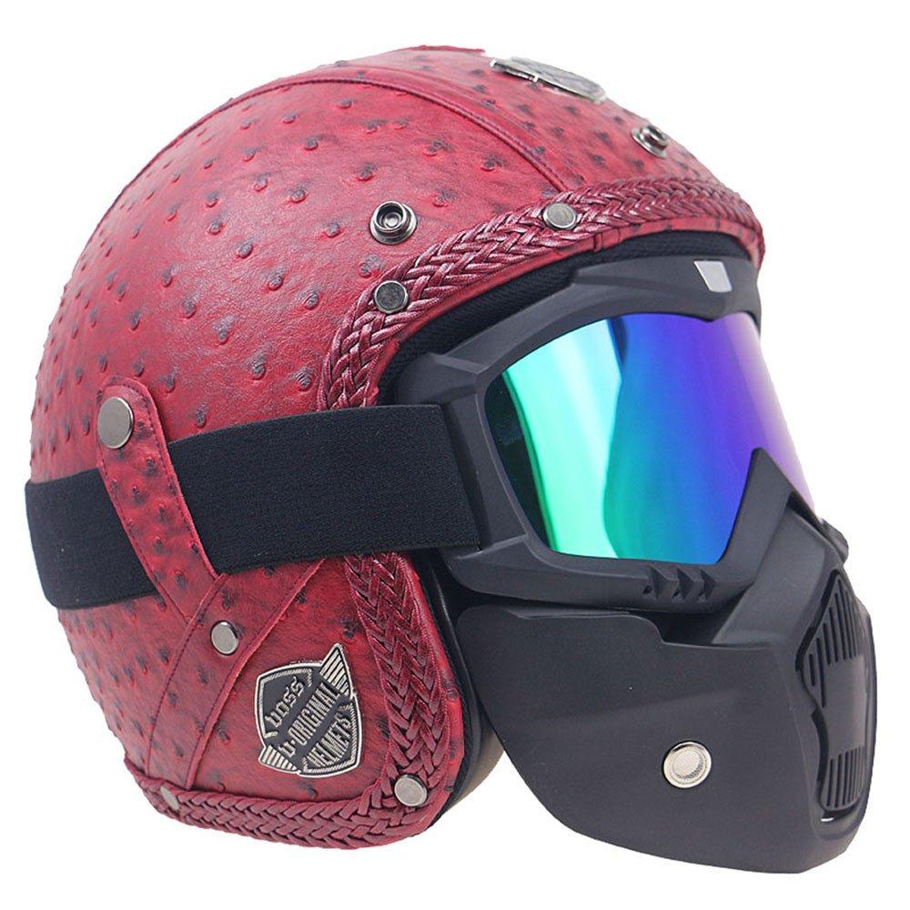 KKmoon Caschi in pelle PU retro faccia antivento e sandproof 3//4 moto integrale marrone plaid con Occhiali XL