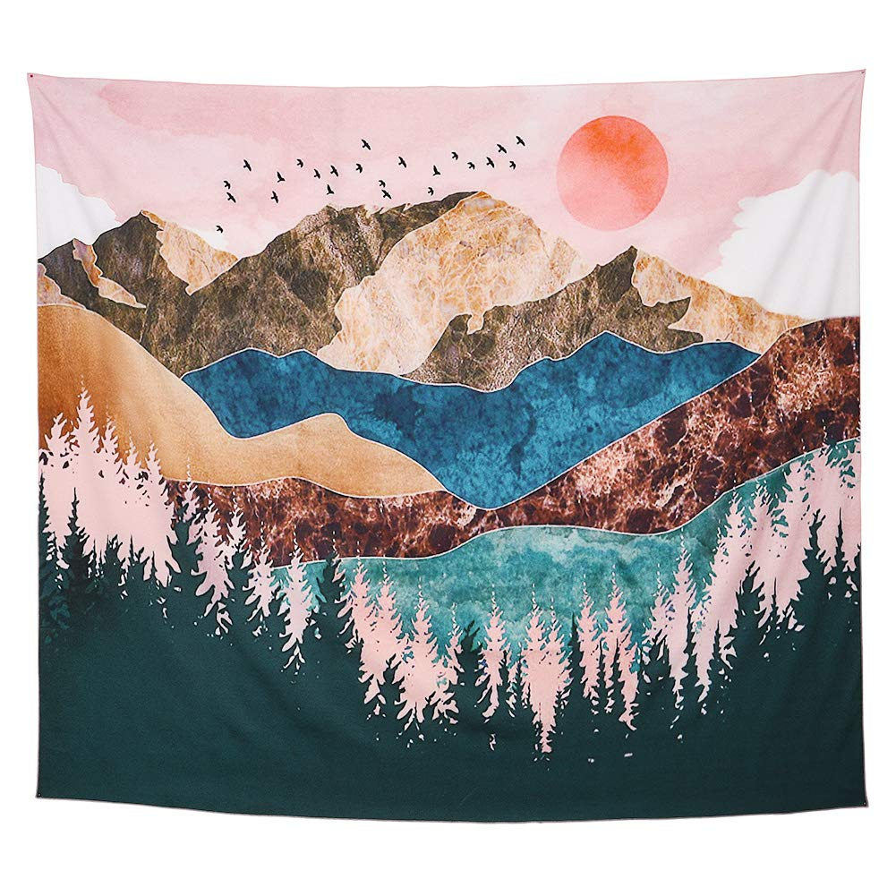 ,Wall Hanging Home Decor Wall Art for Bedroom GothYor Youngle Mountain//Forest Tree//Sunset//Nature Landscape Tapestry 51 W x 59 L