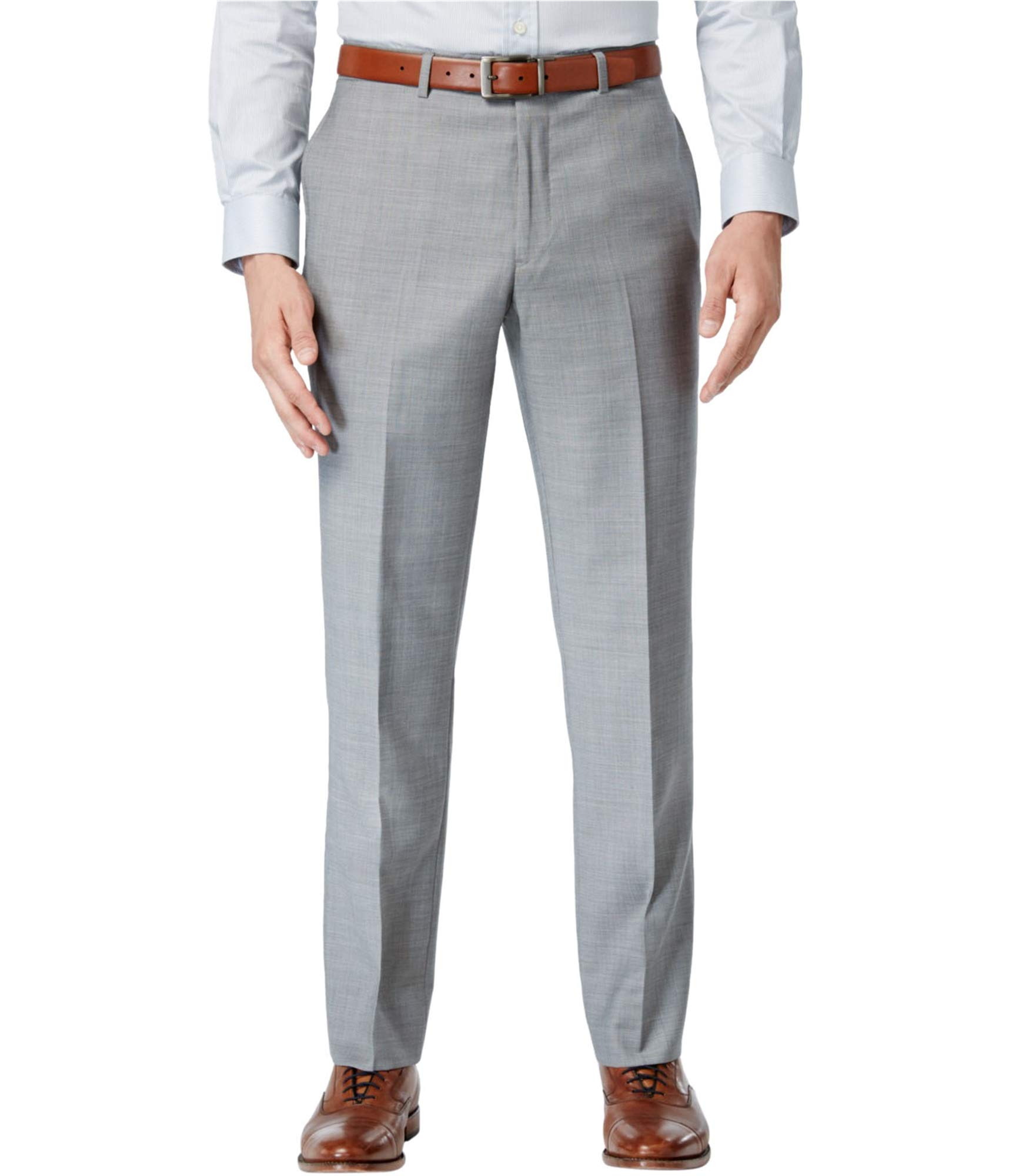 Tommy Hilfiger Mens Flat Front Trim Fit 100% Wool Suit Separate Pant, Grey Solid, 34W x 34L by Tommy Hilfiger