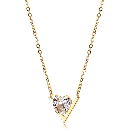 582133b11 Amazon.com: Gold Heart Necklace 14K Gold Plated Cubic Zircon Girl Necklaces  18