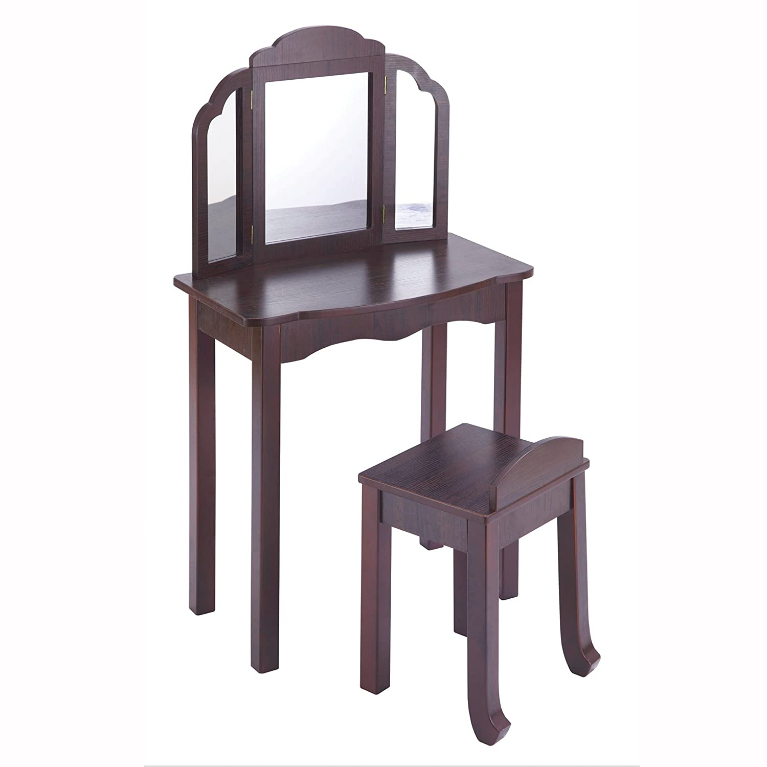 Guidecraft Espresso - Dark Cherry Expressions Wooden Vanity Table and Stool Set with 3 Mirrors: Kids Room Furniture G87304