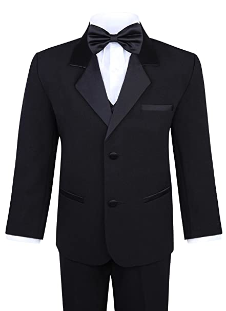 Kids 1950s Clothing & Costumes: Girls, Boys, Toddlers Boys 5-Piece Tuxedo Set – Black $44.97 AT vintagedancer.com