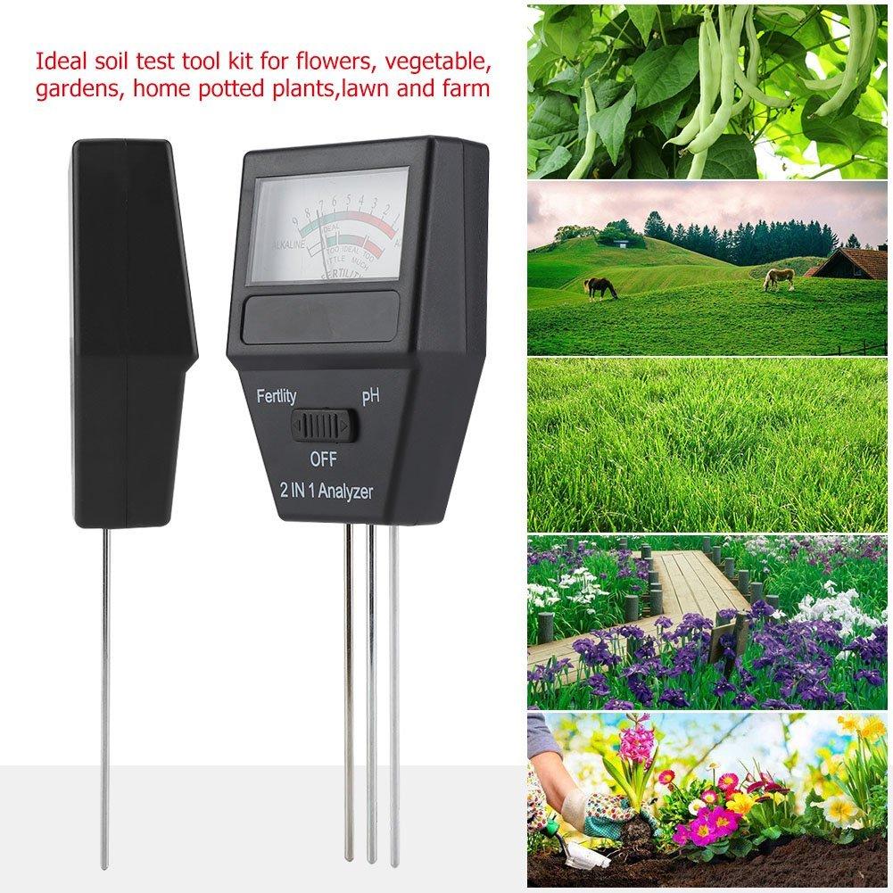 Analyseur de Sol 2 en 1 Analyseur dengrais du Sol PH Niveau dacidit/é Kit de Test dalcalinit/é avec 3 Sondes pour la Culture de Jardin Plantes L/égumes Fleurs Pelouse Herbes et plus Ferme