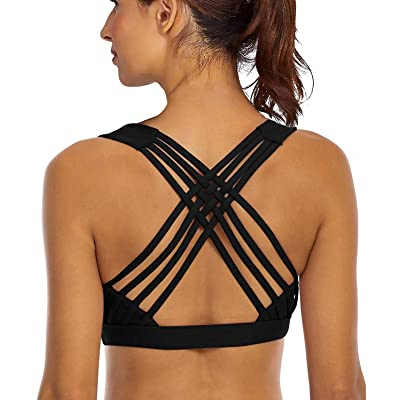 YIANNA Sports Bras for Women - Strappy Sports Bra Padded for Yoga, Running, Fitness - Athletic Gym Tops at Women's Clothing store