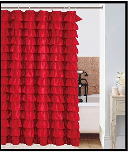 Image Unavailable Not Available For Color Waterfall RED Ruffled Shower Curtain