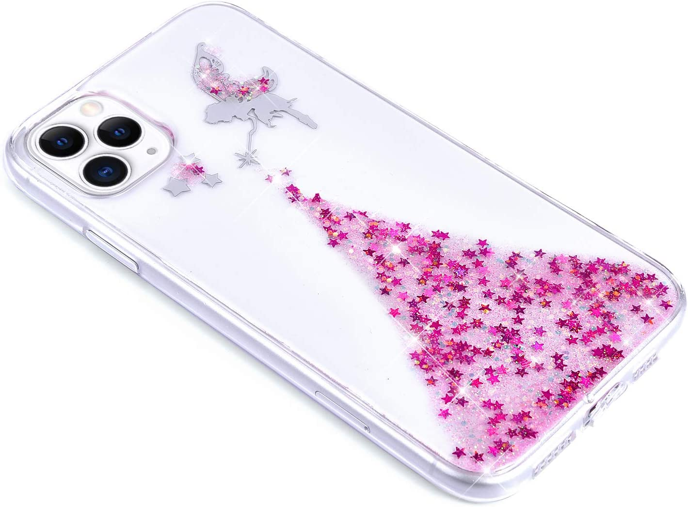 Saceebe Compatible avec iPhone 11 Pro Max Coque Silicone Strass Brillante Bling Glitter Paillette /Étui Ange Papillon Motif Transparente Gel Souple Ultra Fine Ultra L/éger Housse,Argent