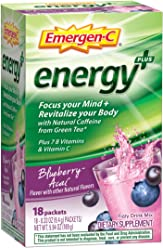 Emergen-C Energy+ (18 Count, Blueberry-Acai Flavor) Dietary Supplement Drink Mix with Caffeine, 0.33 Ounce Packets