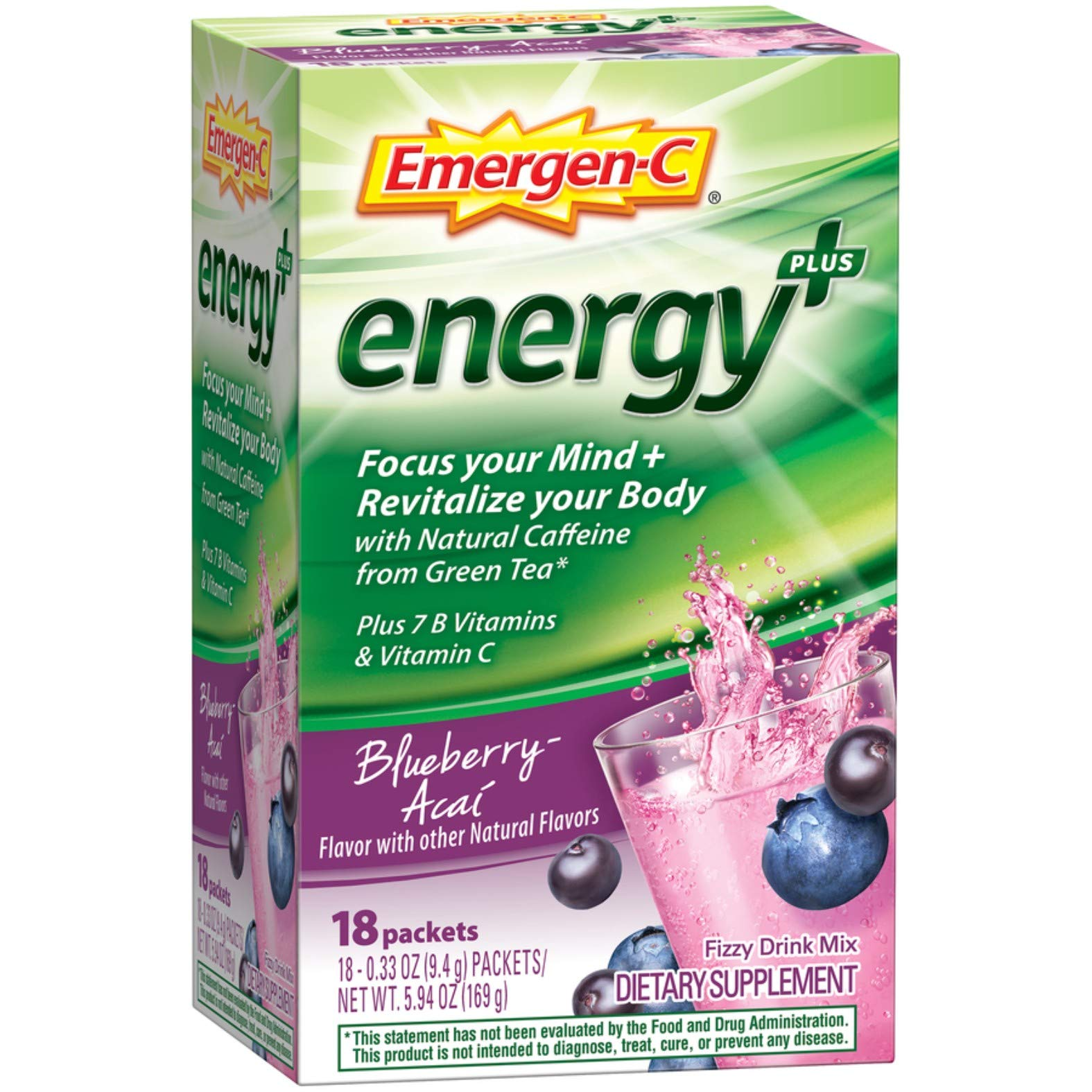 Emergen-C Energy+ (18 Count, Blueberry-Acai Flavor) Dietary Supplement Drink Mix with Caffeine, 0.33 Ounce Powder Packets
