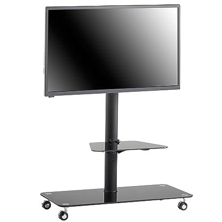 VonHaus - Carrito de TV Soporte de pie con ruedas TV Soporte para soporte de pantallas | estante de cristal y ruedas | soporte Universal | Compatible con ...