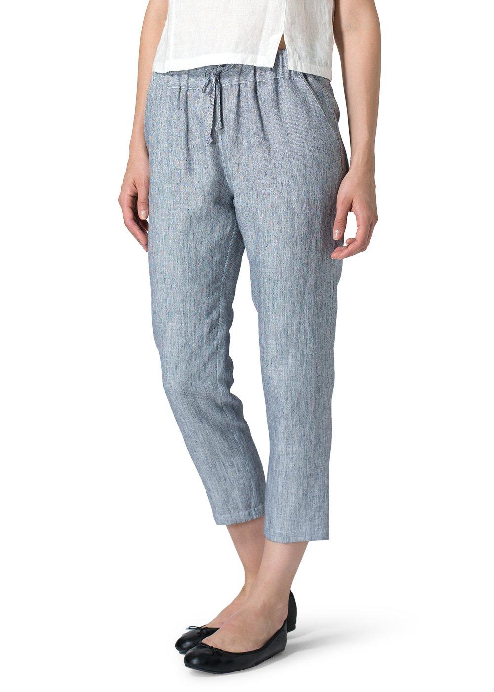 Vivid Linen Low Rise Narrow Leg Cropped Pants-4X-Navy Stripe