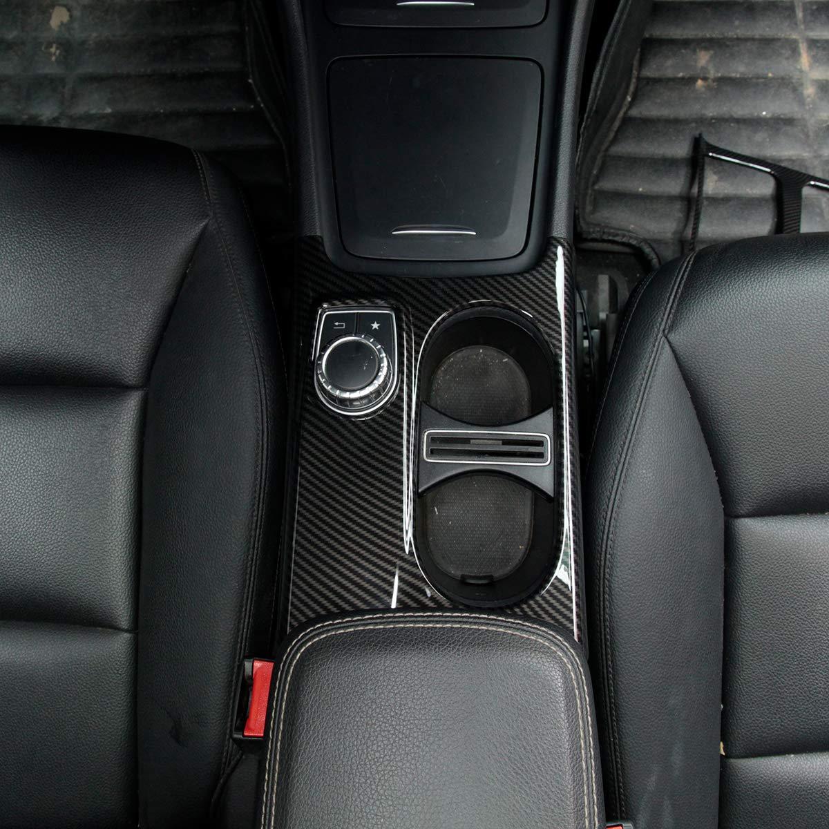 Yiwang accessori auto guida a sinistra copertura portabicchieri in fibra di carbonio per Benz Classe A//GLA//CLA C117 W117 W176 X156 2012 2018