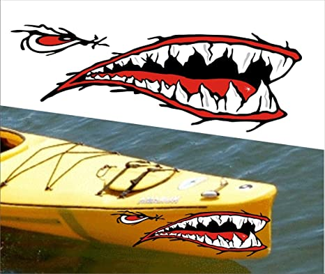 Mean straight front shark teet mouth decal stickers kayak canoe jet ski hobie dagger ocean boat