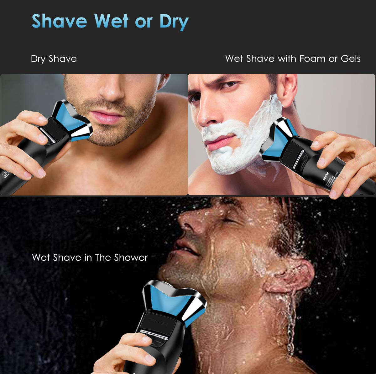 Men's 3D Electric Rotary Shaver, Cordless Rechargeable Electric Razor with Pop-up Trimmer
