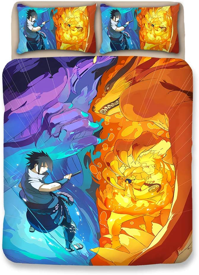 MXDFAFA Japan Anime Naruto 3D Cartoon Duvet Cover Set Household Otaku Bedding Sets Comforter Cover with Soft Lightweight Microfiber Include 1 Duvet Cover and 2 Pillow Cover (Twin)