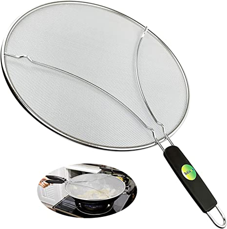 Splatter Screen Anti Grease Frying Pan Splash Guard Protect From Hot Oil Steel