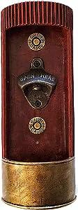 Monarch Housewares Bottle Cap Opener 12 Gauge Shotgun Ammo Shell Casing Wall Mounted Decor with Cap Catcher Rustic Country Decorative Beer Coke