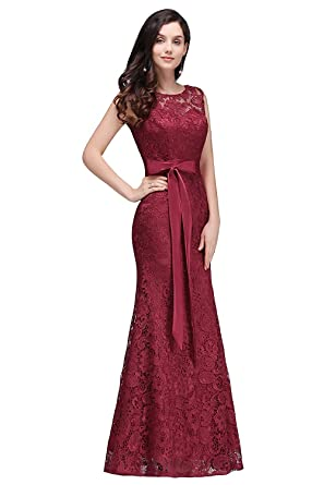 24c249733c MisShow Robe Femme Elégante de Demoiselle d'honneur pour Soirée Moulante  Sirène Longue au Sol