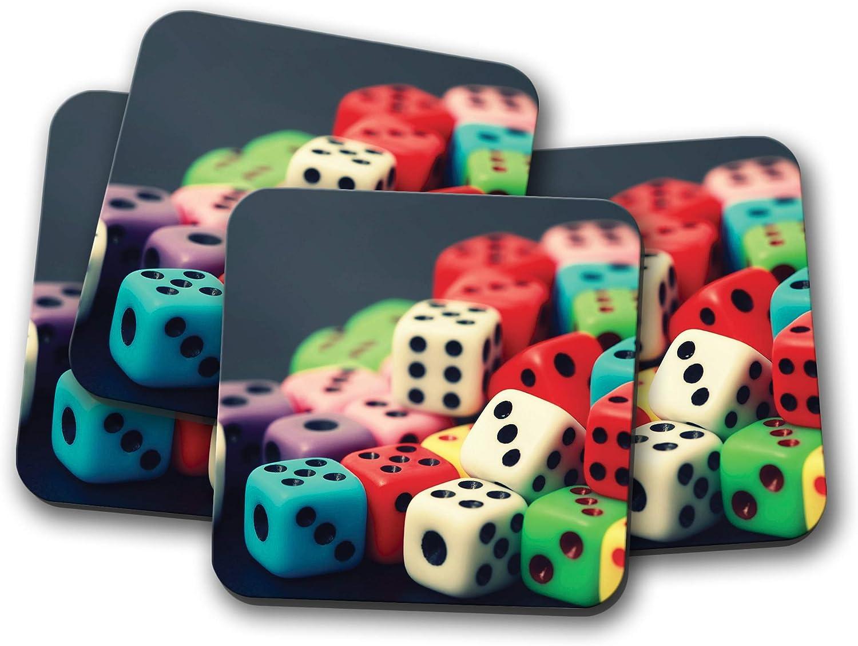 Juego de 4 posavasos coloridos con diseño de juego de mesa con texto en inglés «Juego de cartas de regalo fresco» # 8963: Amazon.es: Hogar